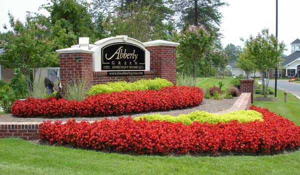 Abberly glenn sign with flowers